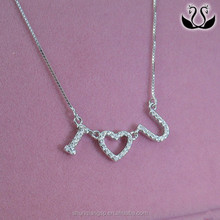 S925 Silver Plated Platinum micro studded with zirconium you necklace
