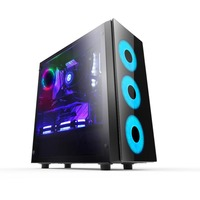 2019 New Hot Tempered Glass Gaming Computer Case Mid Tower PC Case with ARGB Fans ATX Case