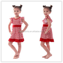 Red and white milk silk new fancy design dress for girls kids frilly dress