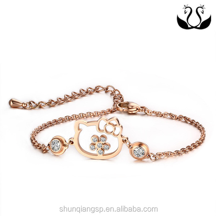 Women Jewelry Rose Gold Stainless Steel Cat 3A Cubic Zirconia Link Adjustable Bracelet
