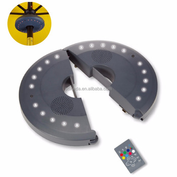 LED Umbrella Speaker with Remote Control, Rechargeable Patio Umbrella Speaker, Patio light Speaker