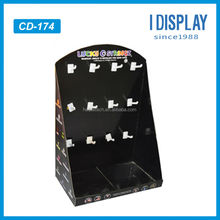 cardboard material corrugated pop display with plastic hooks for phone case retail