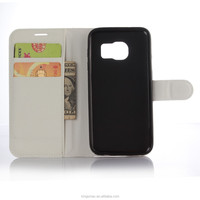 Classic Leather Mobile Phone Bag - Pure White Flip Stand Card Slot Cover Case for Galaxy S7