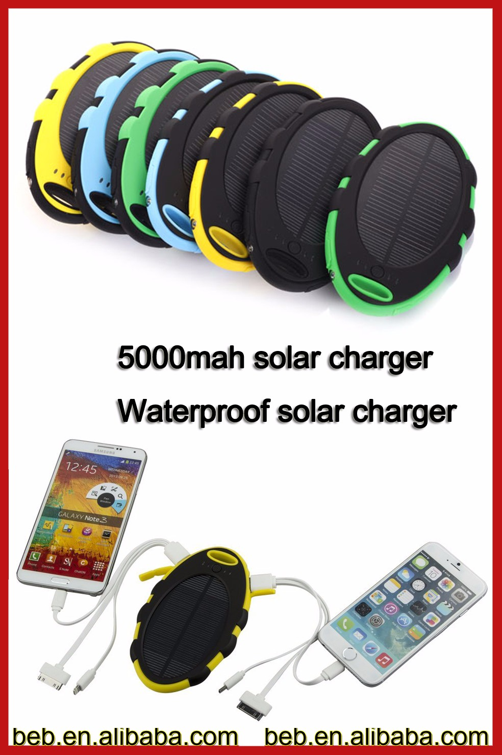 Hotsale Waterproof Dual USB Mobile Portable Power Bank 5000mah Mobile Solar Charger