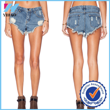 Yihao New Summer Customized vintage shorts jeans women Ripped Hole short jeans 2015