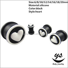 beauty women Silicone black with white love heart ear plug tunnel