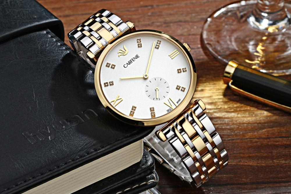 Simple watches men brushed 316L stainless steel watches case hardened mineral crystal lens genuine