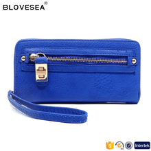 Fashionable style pure color decorative metal front wallet with zipper pocket fashion express wallets pu leather ladies purse