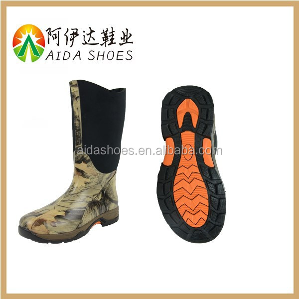 2015 Fashion 100% Waterproof Camo Light Weight Vulcanized Rubber Neoprene Hiking Boots