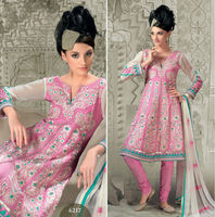 Pink Embroidered Designer Cotton Salwar Suit