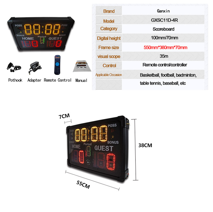 Top selling gym use outdoor 4 inch led display single side wall mounted football LED scoreboard