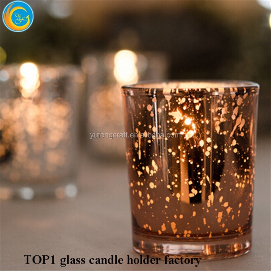 Customized Plating Logo mini glass candle holdersFestive Party Favor