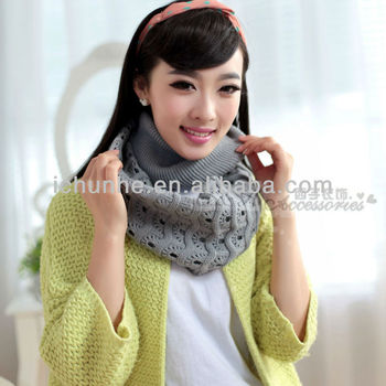 colorful winter grey fashion knitted round neck warmer factory