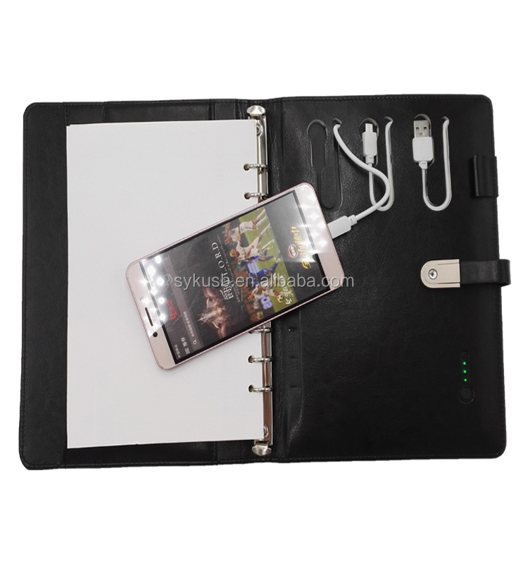 Wholesale Custom A5 Leather Power bank Notebook with 8gb USB