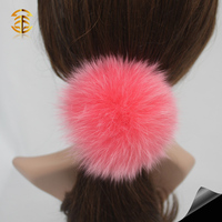 Girl lady fox fur pom po hair accessory wholesale fur ball elastic