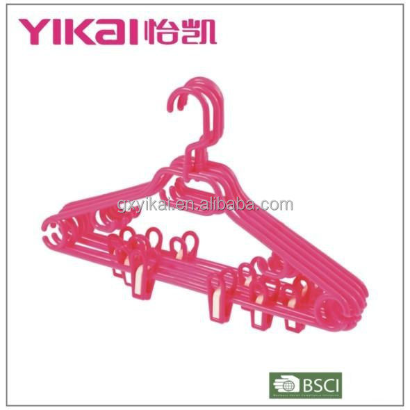 2015 plastic trousers/shirt/skirt clothes hanger with a swivel hook and clips