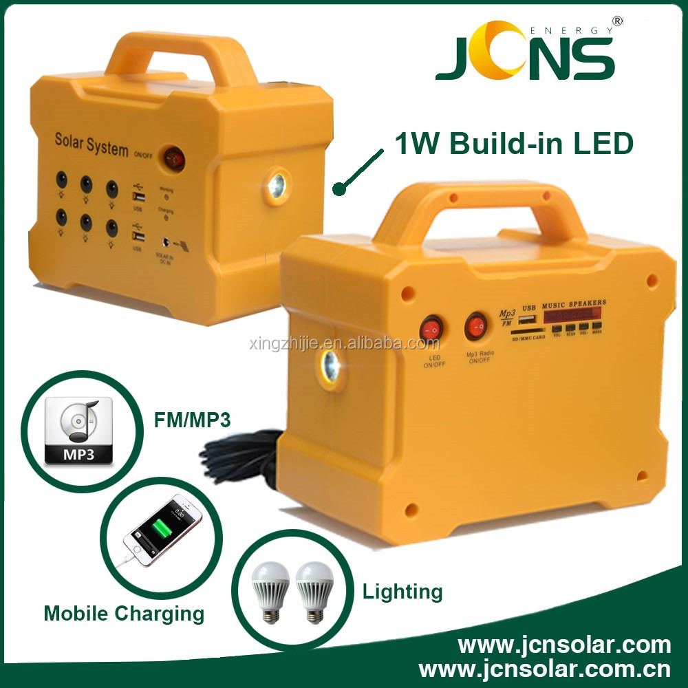 JCN newest F101 portable solar charging system kits with MP3 and Radio