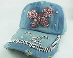 wholesale customize Rhinestone Crystal JEAN DENIM Hats Ball cap Outdoor Sports Sparkle Baseball Caps T-102