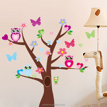 Wholesale promotion 3d Removable Swing Owl & Birds Colorful Scroll Tree Wall Art Decal Stickers for Nursery /Kids Rooms decor