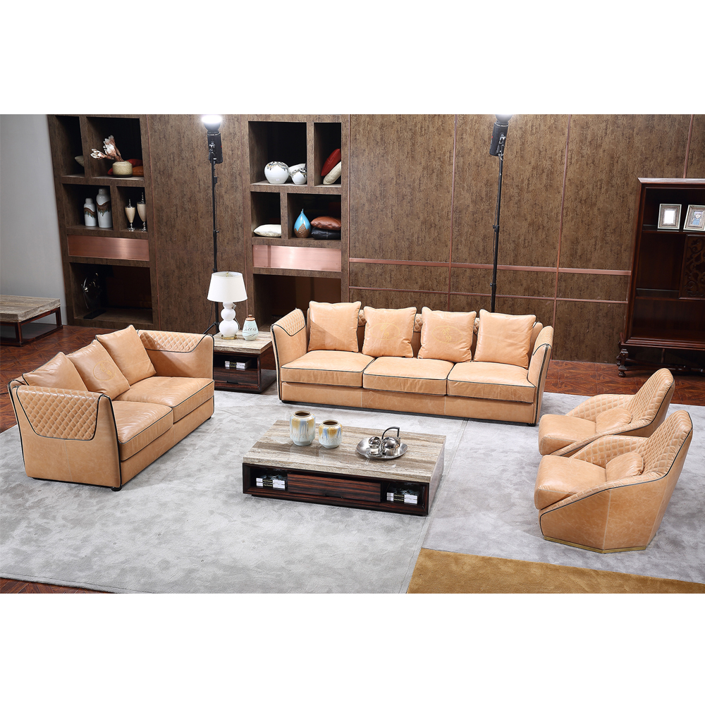 Hot sell luxury modern design photo living room home furniture leather sofa set 7 seater