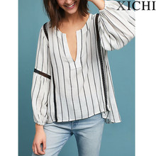new design women Button down striped Blouse
