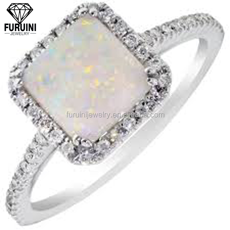 FRNOP0024 Women's 925 Sterling Silver White Opal Vogue Jewelry Wedding Rings