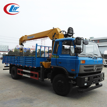 DONGFENG 4*2 16ton capacity cargo box with 2ton knuckle boom crane truck