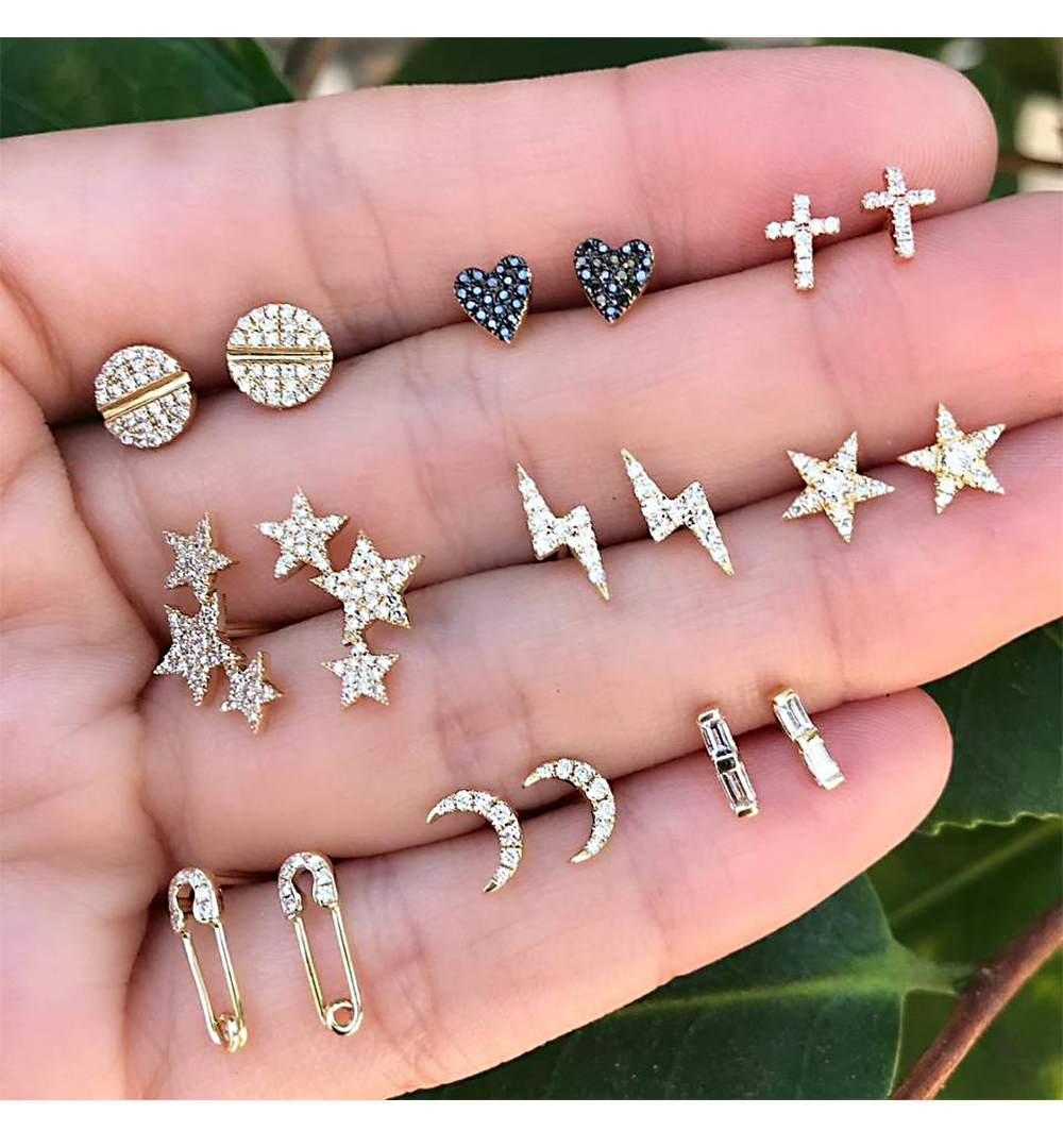 9 Pairs/set Mix Style Moon Stars Heart Lightning Bohemian Crystal Stud Earrings  for Woman jewelry
