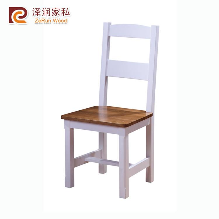 Wooden furniture solid oak white dining chair
