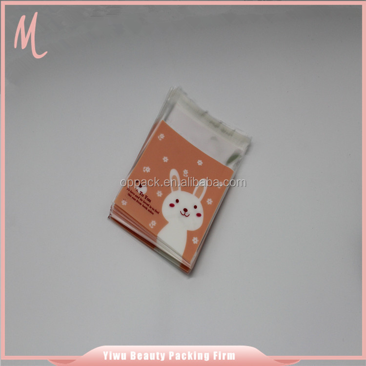 China factory good quality disposable newest rabbit pattern cookie printed opp food bag.custom printed resealable bags