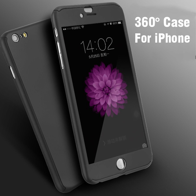 Hot Ultra Thin 360 Case+ 9H Tempered Glass Screen Protector for iphone 7 7plus 6 6 plus 360 Full Body Coverage case