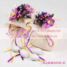 Wedding Party Gift Confetti Favor Candy Pouch Bags with Bouquet Dark Purple