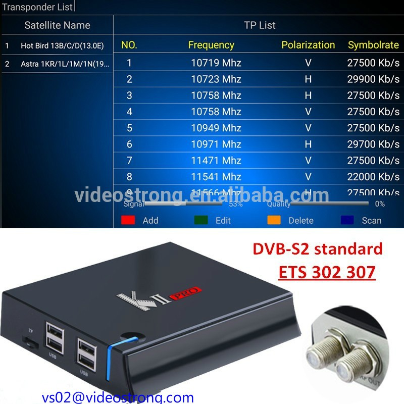 Videostrong original 2017 best smart tv box kii pro T2/S2 4k satellite receiver tv box android 7.0