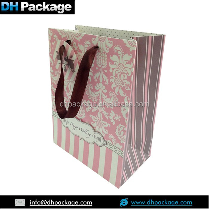 Pink Flower Pattern Wedding Gift Carrier Bag with Paper Tag Ribbon Handle