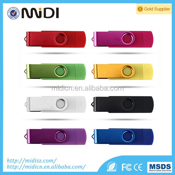 Multi-function OTG Swivel USB Flash Drives 8GB 16GB 32GB Custom Logo USB 2.0 cheap mini U-Disk for Android phone