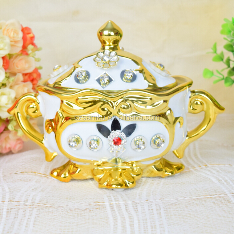 White gold electroplated ceramic candy sugar chocolate cookie jar with lid