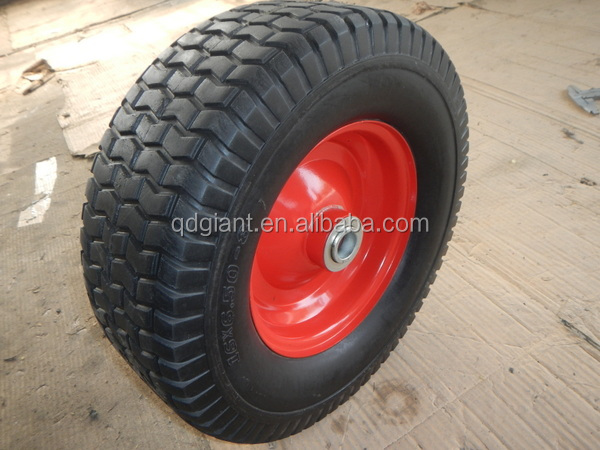 good quality pu beach cart wheel flat free wheel for sale 16''x6.50-8