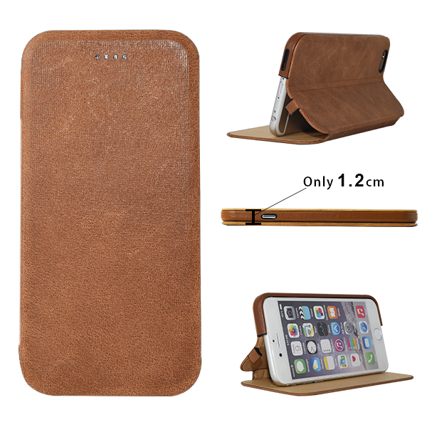 Top Quality Italian Full Grain Luxury Leather for Iphone Case Mobilephone Wallet Cover with Built In Stand Support