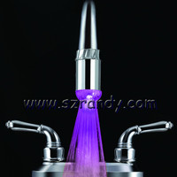 Single Color 2012 newest led waterfall brass and glass basin faucet