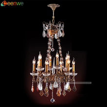 12 Lights custom chandeliers Crystal brass chandeliers brass candle white red crystal antiqued brass Finish