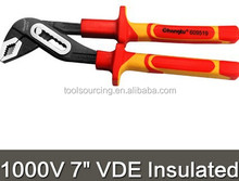 "1000V 7"" VDE insulated water pump plier European standard PAHS TPE handle electrician dedicated"