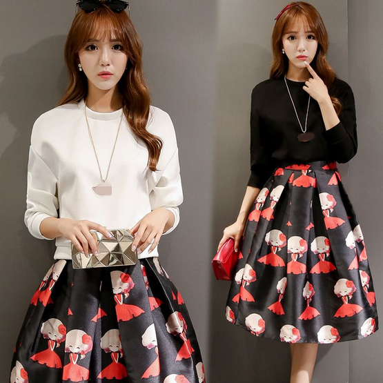 W70781G 2015 women 2 piece suits fitted fashion T-shirt and printing skirt women elegant skirt suits pictures of women wearing