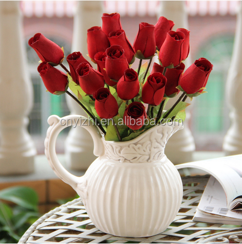 wholesale wooden flower rose artificial red single stem rose flower 35cmH natural simulation rose
