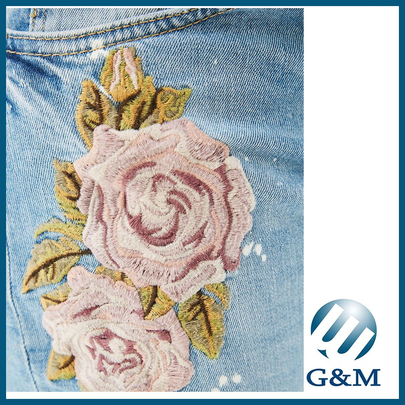 Blue Skinny Fashion Ladies Floral Embroidery Jeans Pants