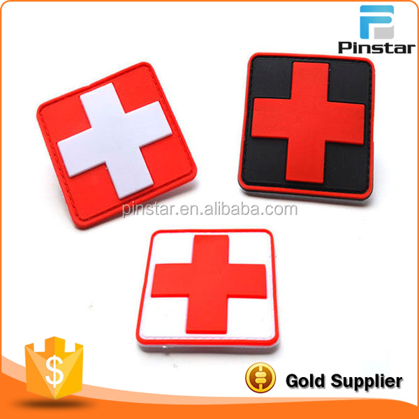 100% China Factory Red Cross 3D Soft Rubber Badge Custom Logo PVC Patch Product