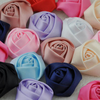 wholesale handmade satin fabric rose flowers for wedding decorative