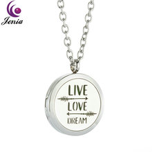 Jenia Love Dream Aromatherapy Essential Oil Diffuser Pendant Necklace Stainless Steel Locket Design