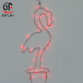 2018 Trending Products Christmas Ornaments Led Lighted Flamingo Sculpture Metal Wall Art Decoration