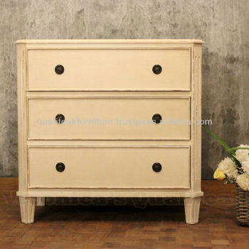 Antique Bedside Tables - Wilma Bedside With Antique White Paint Finish