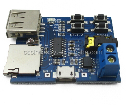 MP3 lossless decoder board with self powered mp3 decoder/<strong>u</strong> disk TF broadcast/decoder module